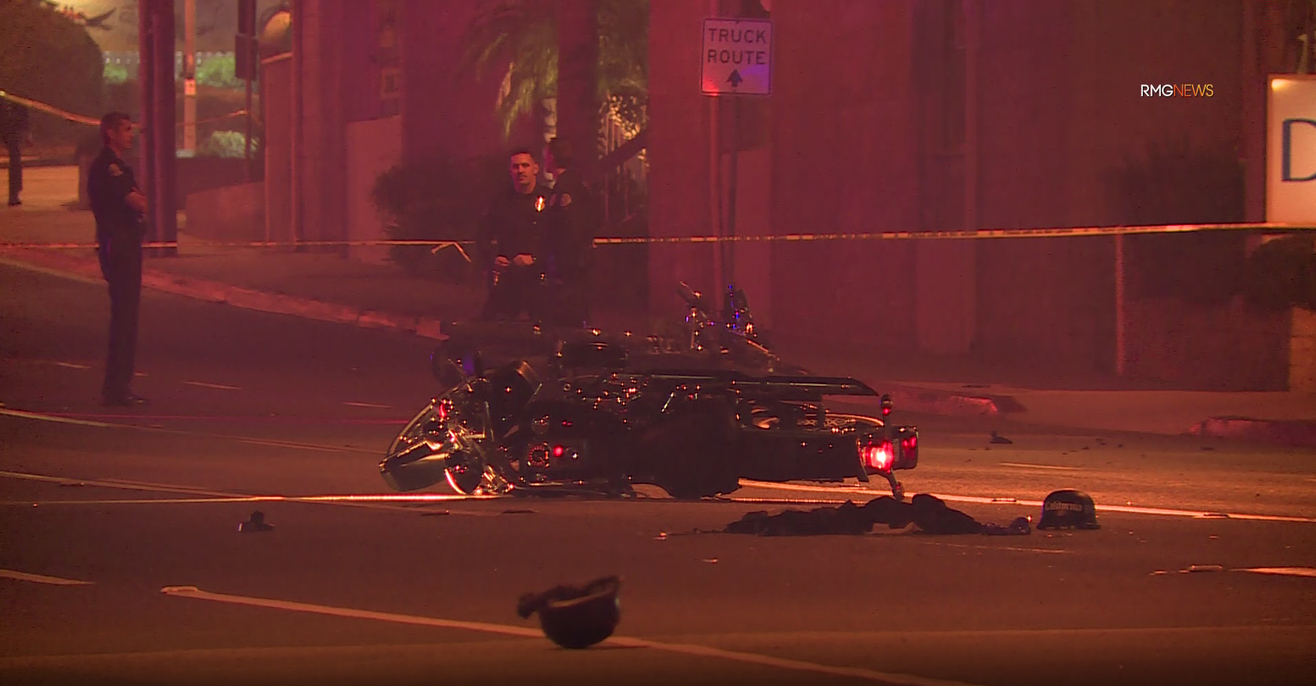 The scene of a fatal motorcycle crash in Redondo Beach is seen on Nov. 9, 2019. (Credit: RMG News)