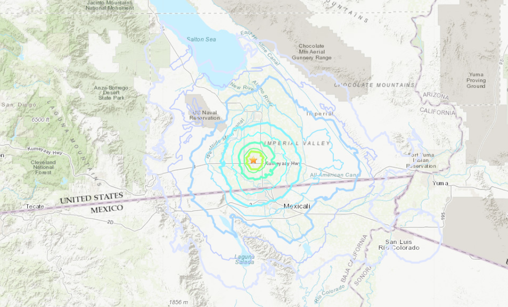 The shaking felt after a 4.0 magnitude quake hit the El Centro area on Nov. 11, 2019, is seen on a map provided by the U.S. Geological Survey.