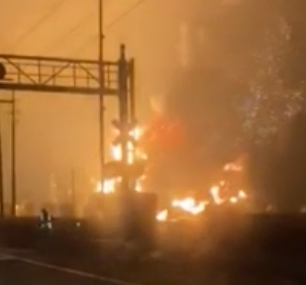A fire burns following an explosion at a Texas chemical plant on Nov 27, 2019. (Credit: CNN)