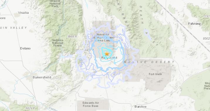 A preliminary magnitude 3.7 earthquake near Ridgecrest at 4:49 p.m. on Nov. 28, 2019. (Credit: USGS)
