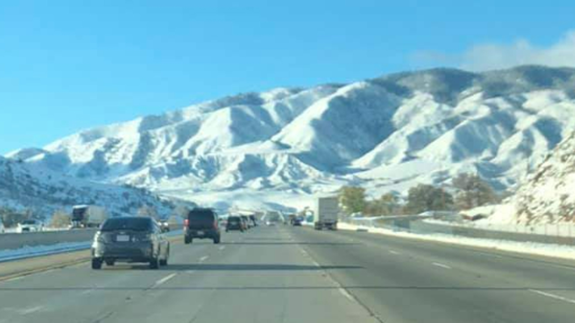 The 5 Freeway along the Grapevine is seen on Nov. 30, 2019. (Credit: California Highway Patrol Fort Tejon)