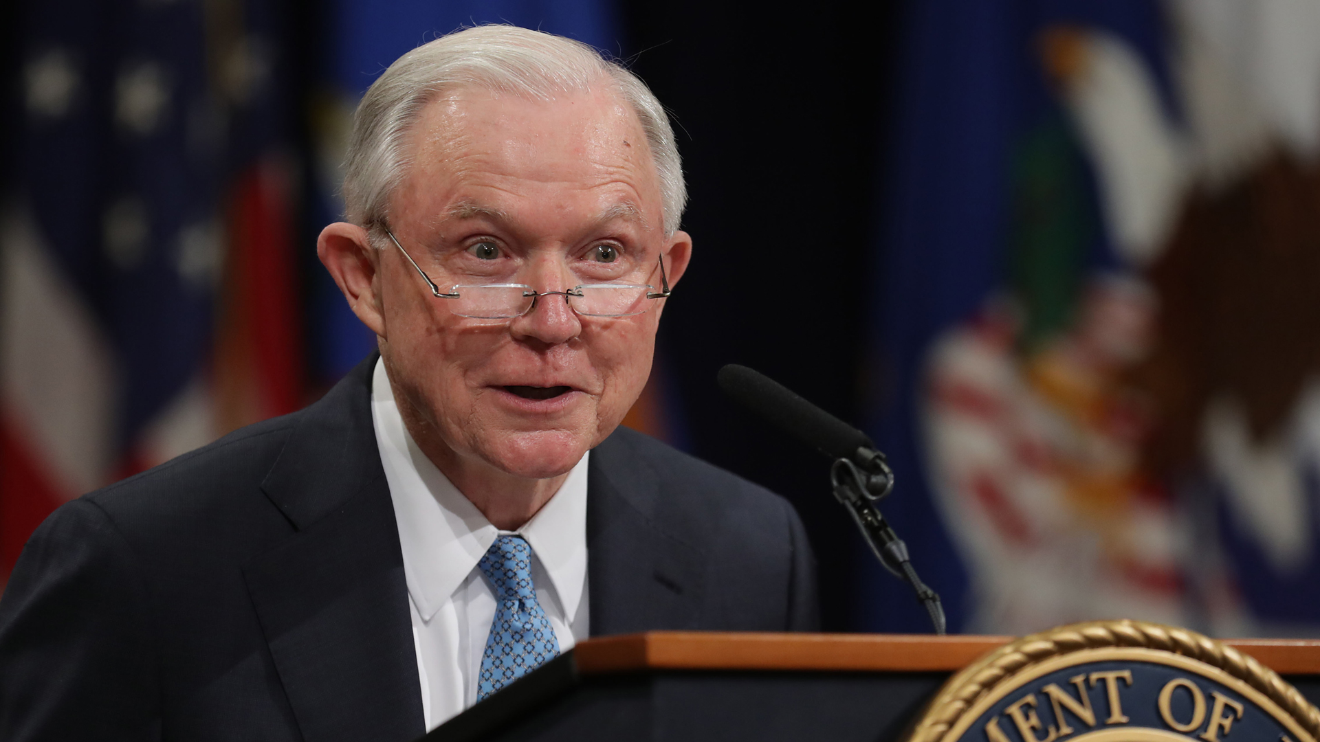 Former U.S. Attorney General Jeff Sessions delivers remarks during a farewell ceremony for Deputy Attorney General Rod Rosenstein on May 9, 2019, in Washington, DC. (Chip Somodevilla/Getty Images)