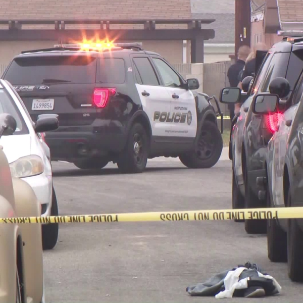 Authorities investigate an officer-involved shooting in West Covina on Nov. 7, 2019. (Credit: KTLA)