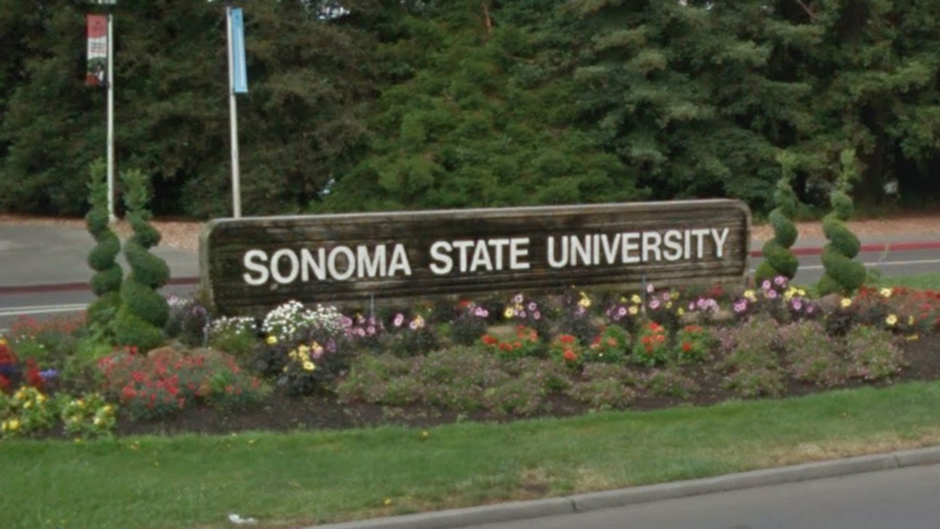 A Sonoma State University sign is seen in this Google Maps image.