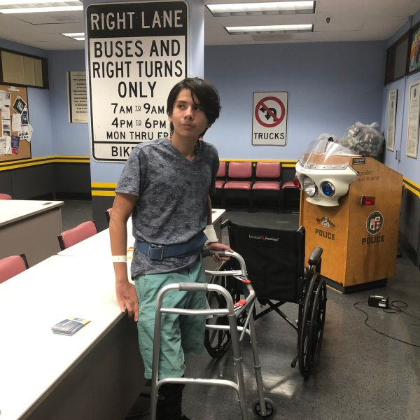 Roberto Diaz visited the LAPD Central Traffic Division on Nov. 1, 2019, after being released from the hospital (Credit: LAPD Detective Moses Castillo)