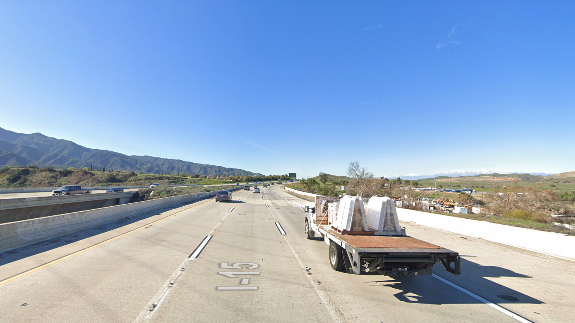 Interstate 15 north of Temescal Canyon Road is seen in a Google Maps Street View image.