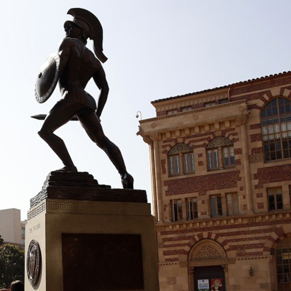 A statue of Tommy Trojan on the USC campus is seen in an undated photo. (Al Seib / Los Angeles Times)