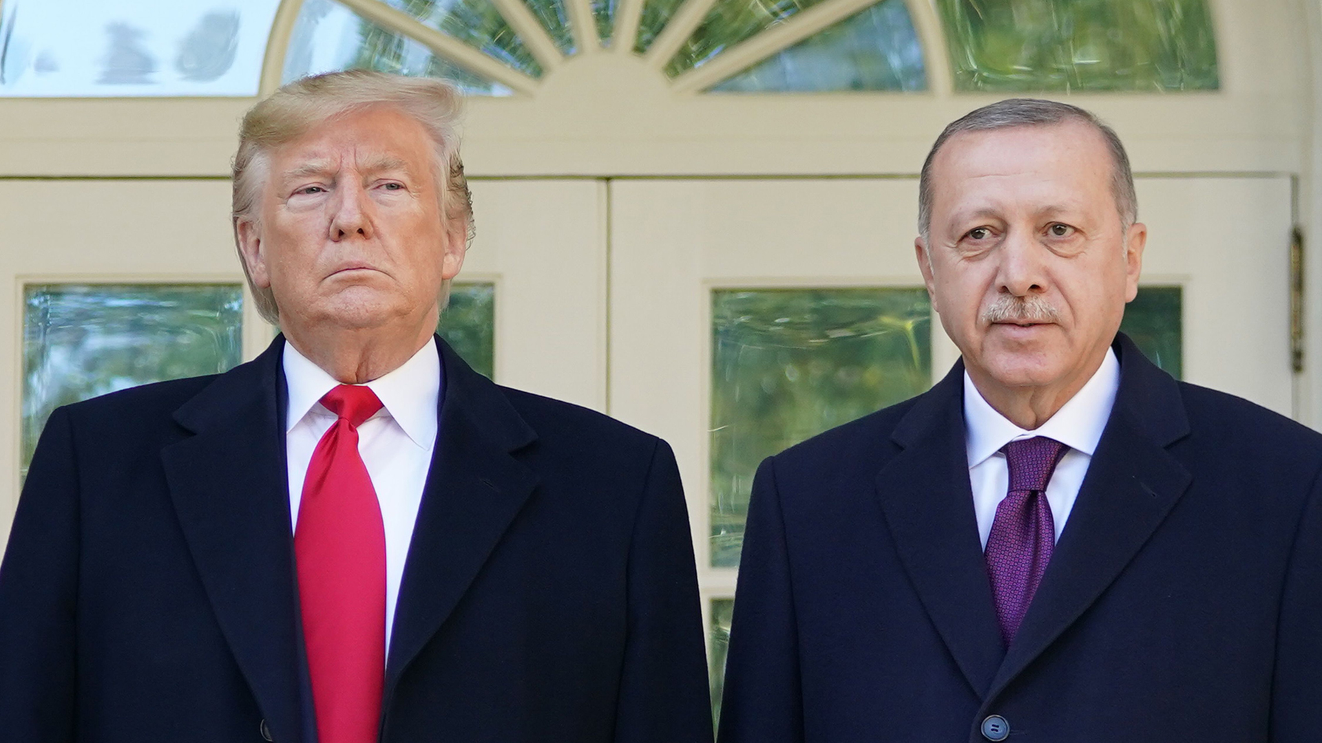 President Trump greets Turkey's President Recep Tayyip Erdogan upon arrival outside the White House on Nov. 13, 2019. (Credit: MANDEL NGAN/AFP via Getty Images)