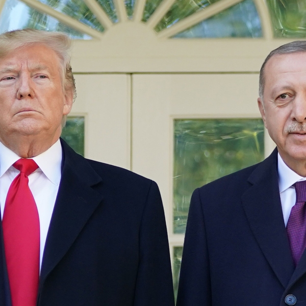 President Trump greets Turkey's President Recep Tayyip Erdogan upon arrival outside the White House on Nov. 13, 2019. (Credit: MANDEL NGAN/AFP via Getty Images)