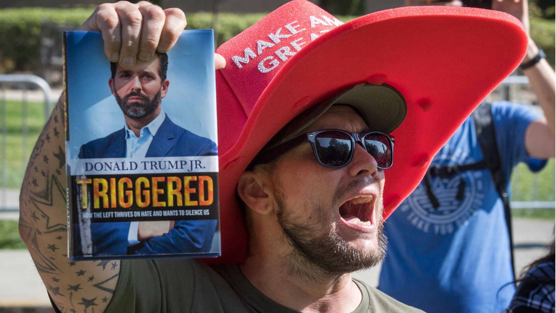 A supporter of President Trump yells at counter protesters outside a book promotion by Donald Trump Jr. at the UCLA campus in Westwood on November 10, 2019. (Credit: MARK RALSTON/AFP via Getty Images)