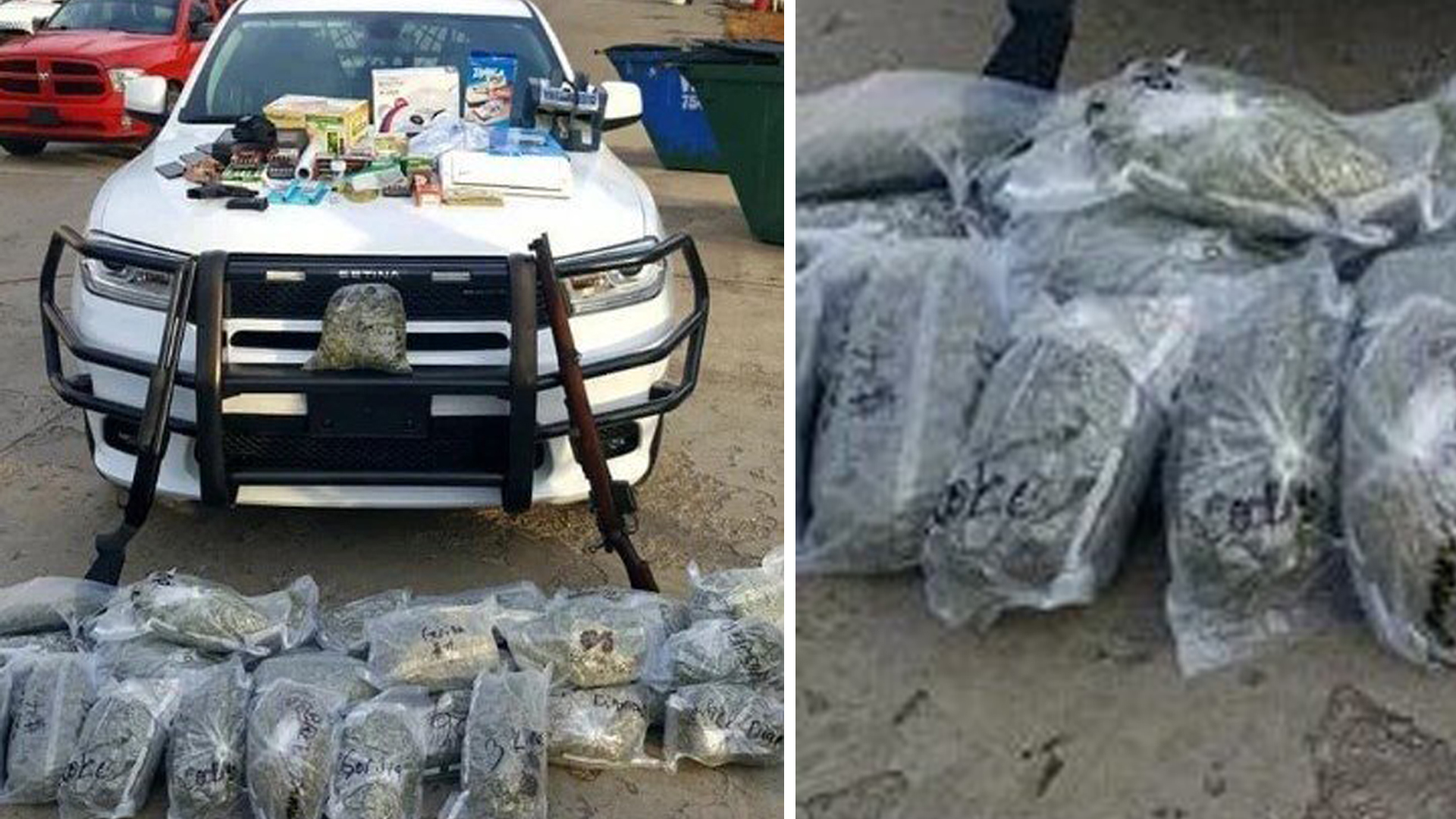 Bags of marijuana and illegal weapons found in a vehicle in Arkansas are seen in an undated photo released by the Johnson County Sheriff's Department.