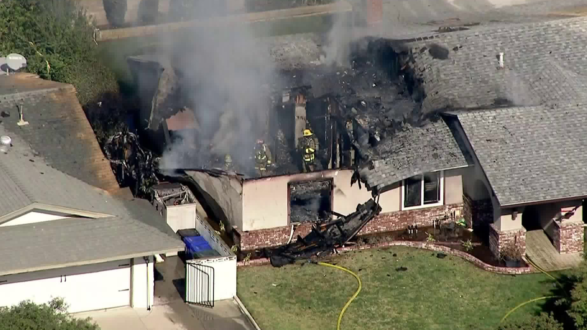 An Upland home was gutted after plane crashed into it and caught fire on Nov. 7, 2019. (Credit: KTLA)