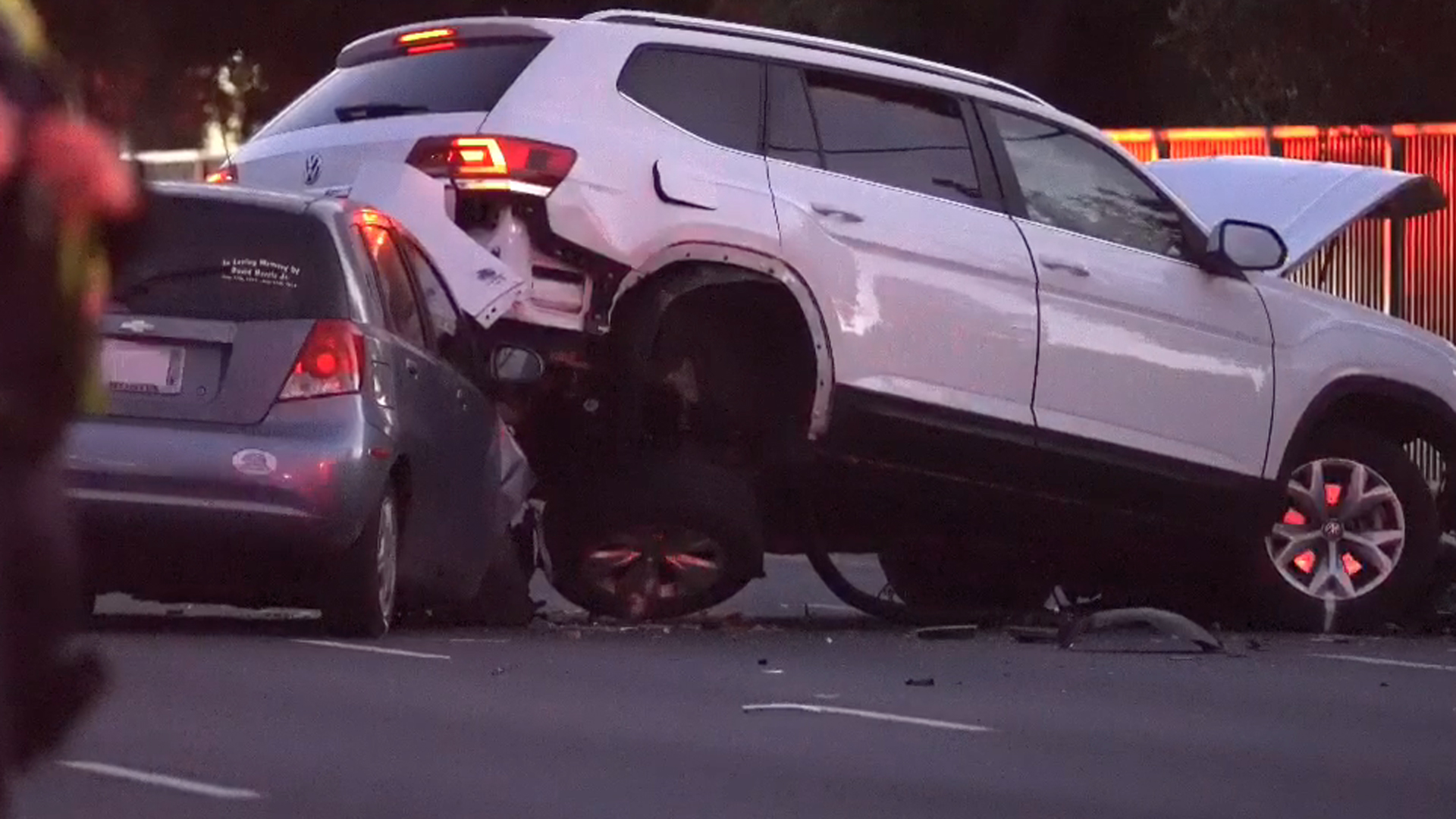 Two of three cars involved in a fatal crash in Westminster on Nov. 21, 2019. (Credit: OC HAWK NEWS)