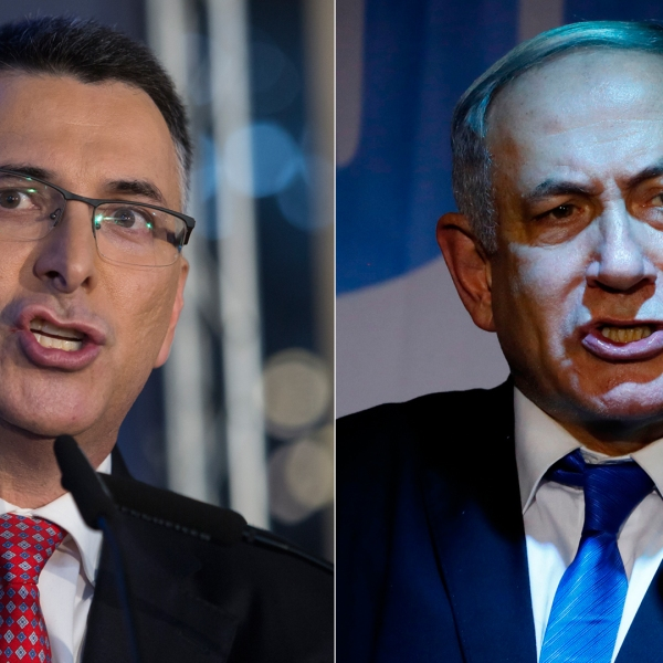 From left to right: Gideon Sa'ar, Likud Party member, speaks at a campaign rally on Dec. 16, 2019, in Or Yehuda, Israel. Sa'ar challenges Prime Minister Benjamin Netanyahu for the Likud leadership primary to be held Dec. 26, 2019. Israeli Prime Minister Benjamin Netanyahu addresses Likud party supporters during an electoral meeting in the Israeli city of Petah Tikva near Tel Aviv on Dec. 18, 2019. (Credit: Amir Levy and Jack Guez/ Getty Images)