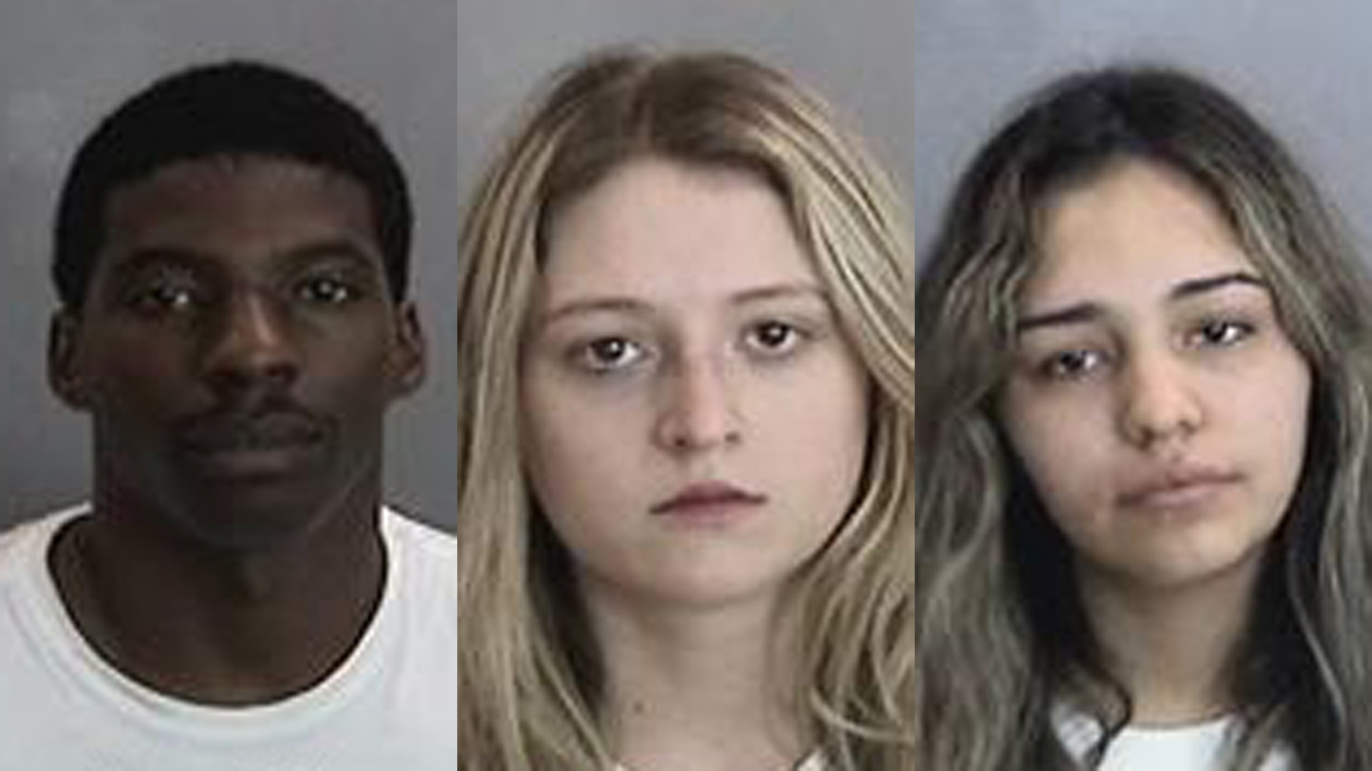 (from left to right) Kendell Morris, Kaylyn Melendez and Carelli Barajas are seen in booking photos released by Anaheim police on Dec. 24, 2019.