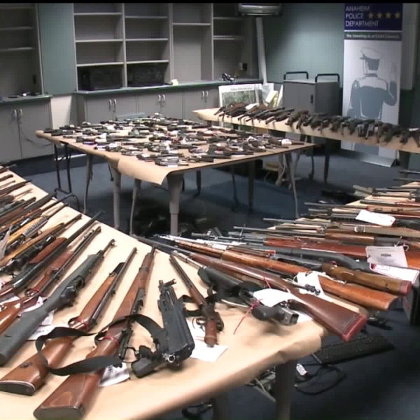 Anaheim police displayed the confiscated weapons on Dec. 18, 2019. (Credit: KTLA)