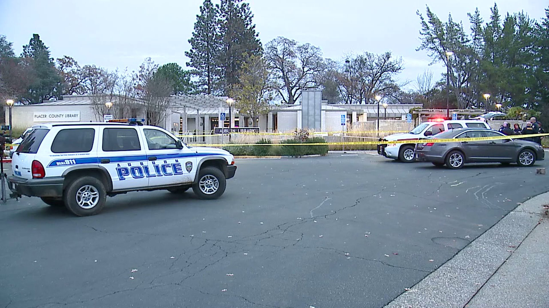 Police investigated after a stabbing at the Placer County Library in Auburn on Dec. 10, 2019. (Credit: KTXL)
