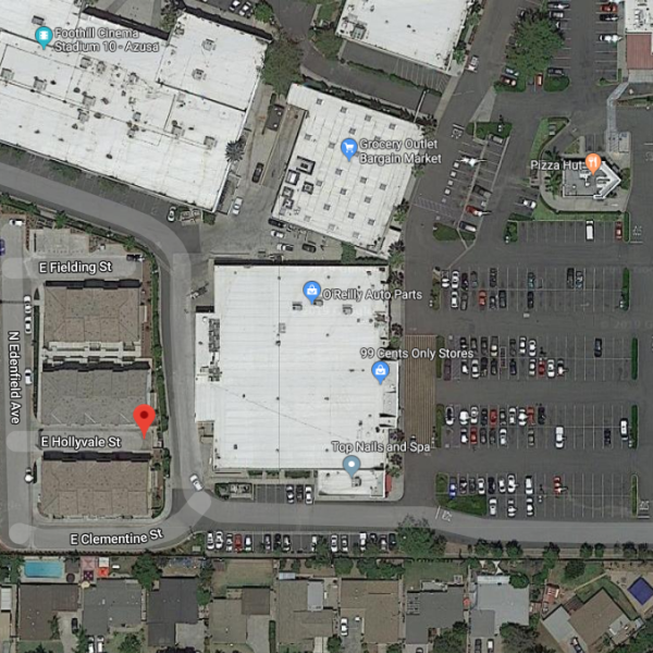 A Google Maps satellite image shows the 1100 block of East Hollyvale Street in Azusa.