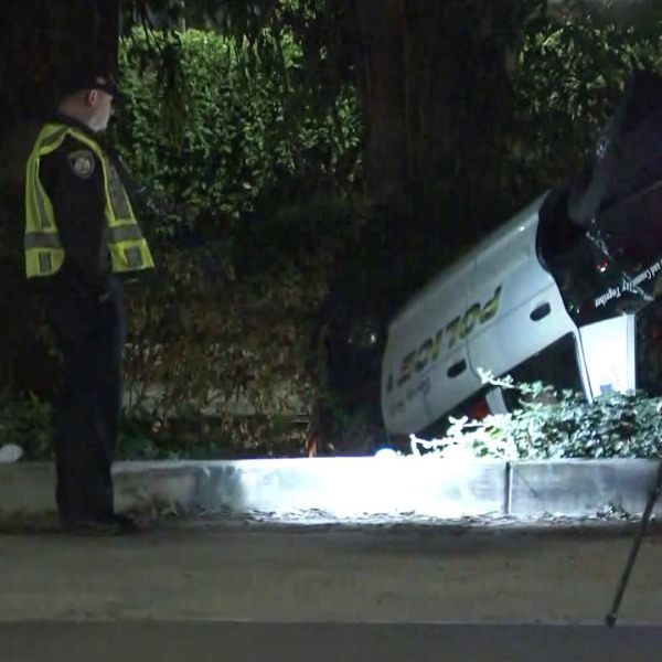 A Beverly Hills Police Department vehicle flipped over near the University of California Los Angeles campus while pursuing a person suspected of driving a stolen vehicle on Dec. 28, 2019. (Credit: KTLA)