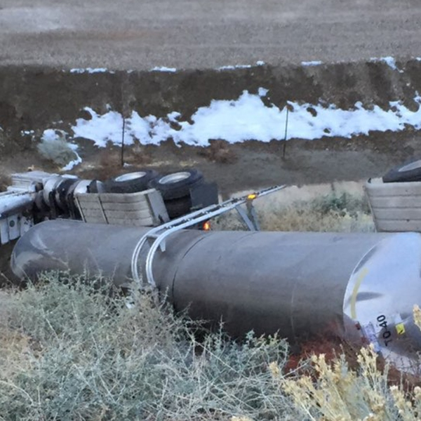 Caltrans tweeted out a photo of the crashed tanker truck on Dec. 2, 2019.