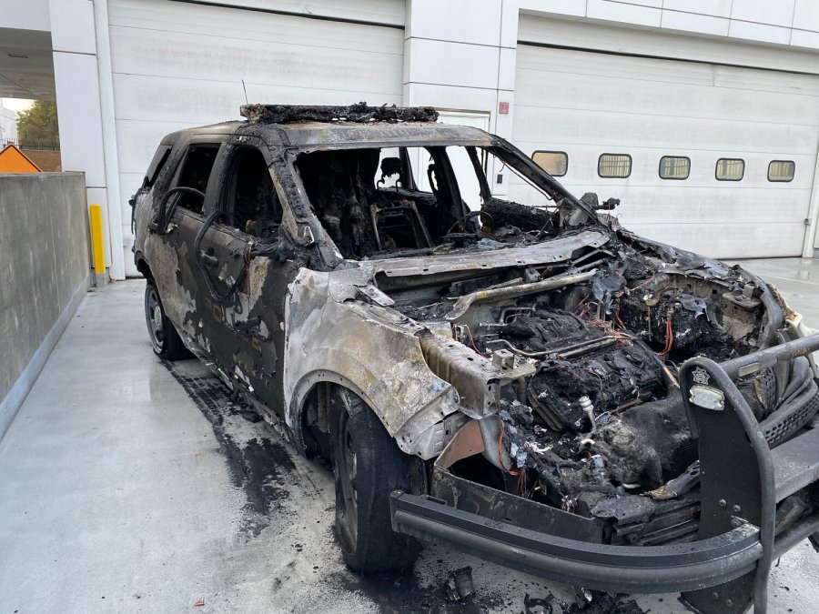 Hawthorne police released this photo of a patrol SUV completely destroyed after a person set it on fire on Dec. 5, 2019.