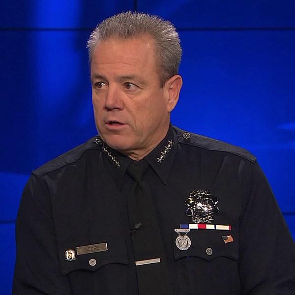 Los Angeles Police Chief Michel Moore at KTLA on Dec. 5, 2019. (Credit: KTLA)