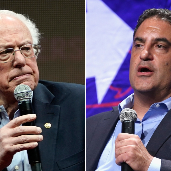 At left, Democratic presidential candidate Sen. Bernie Sanders speaks at a forum in Iowa on Dec. 7, 2019. At right, Cenk Uygur speaks during Politicon at Los Angeles Convention Center on Oct. 21, 2018. (Credit: Win McNamee / Phillip Faraone / Getty Images)