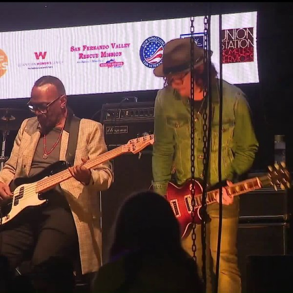 Artists perform at the World's Big Sleep Out benefit concert to combat homelessness at the Rose Bowl in Pasadena on Dec. 7, 2019. (Credit: KTLA)