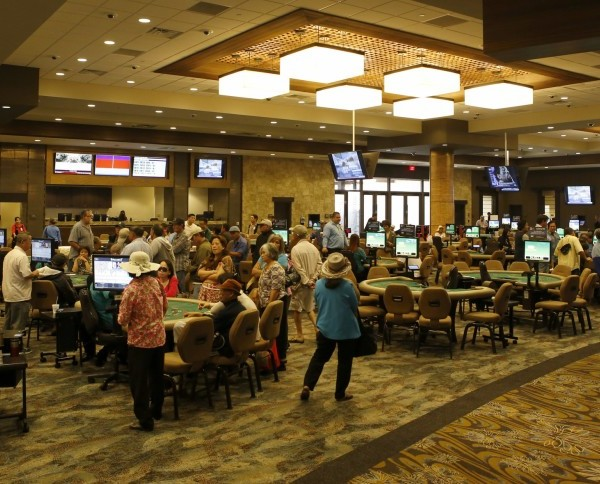 Card players try their luck at various games at the Gardens Casino in Hawaiian Gardens in this 2016 file photo. (Credit: Glenn Koenig / Los Angeles Times)