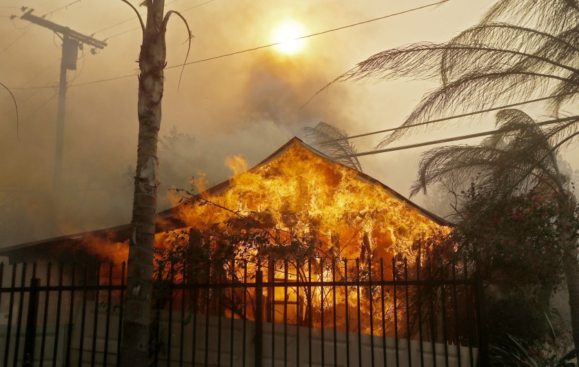 A building during the 2017 Creek fire.(Credit: Luis Sinco / Los Angeles Times)