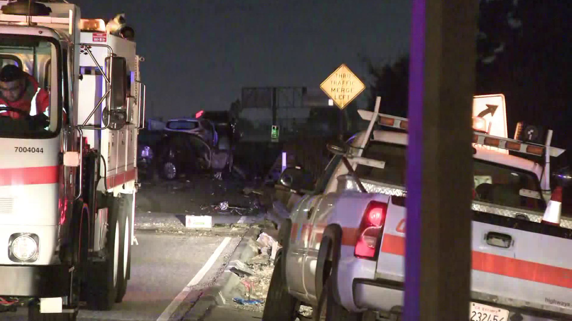 Officials investigate a deadly crash in Duarte on Dec. 15, 2019. (Credit: KTLA)