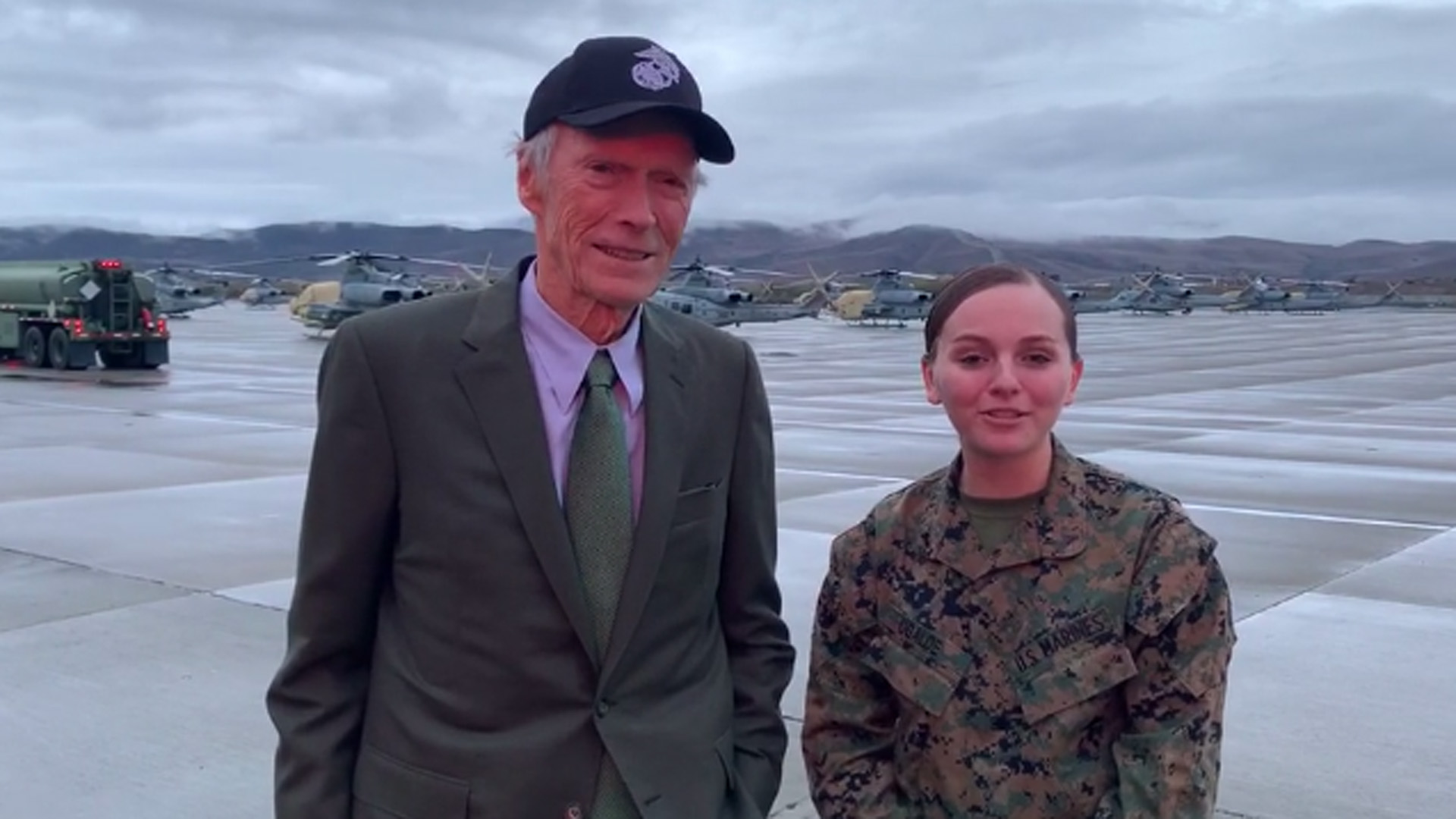 Clint Eastwood visited with Marines at Camp Pendleton after an advanced showing of his new movie on Dec. 7, 2019. (Credit: Lance Cpl. Kerstin A. Roberts / U.S. Marine Corps)