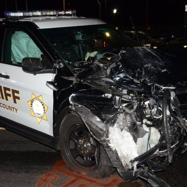 A Sacramento County Sheriff's patrol vehicle is seen after a 2017 crash that left a child with brain damage. (Credit: KTXL)