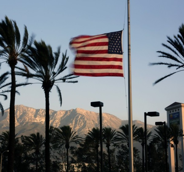 Winds whip palm trees and a U.S. flag in this undated photo. (Irfan Khan / Los Angeles Times)
