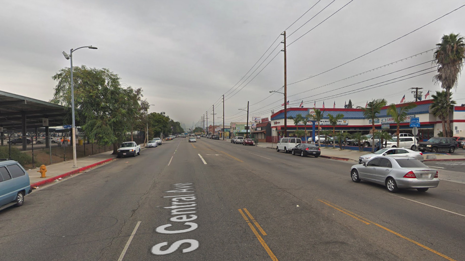 The intersection of Central Avenue and 67th Street in the Florence neighborhood of South Los Angeles, as viewed in a Google Street View image.