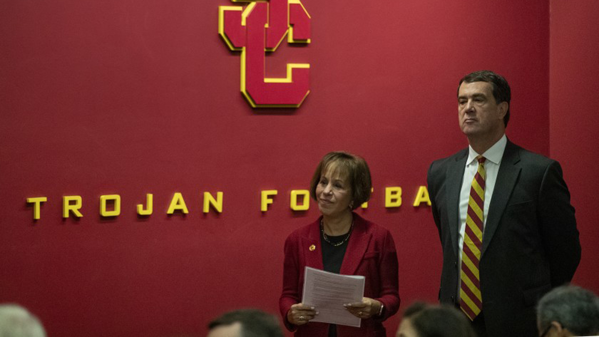 USC President Carol L. Folt waits with new USC athletic director Mike Bohn during news conference on Nov. 7, 2019.(Credit: Brian van der Brug / Los Angeles Times)