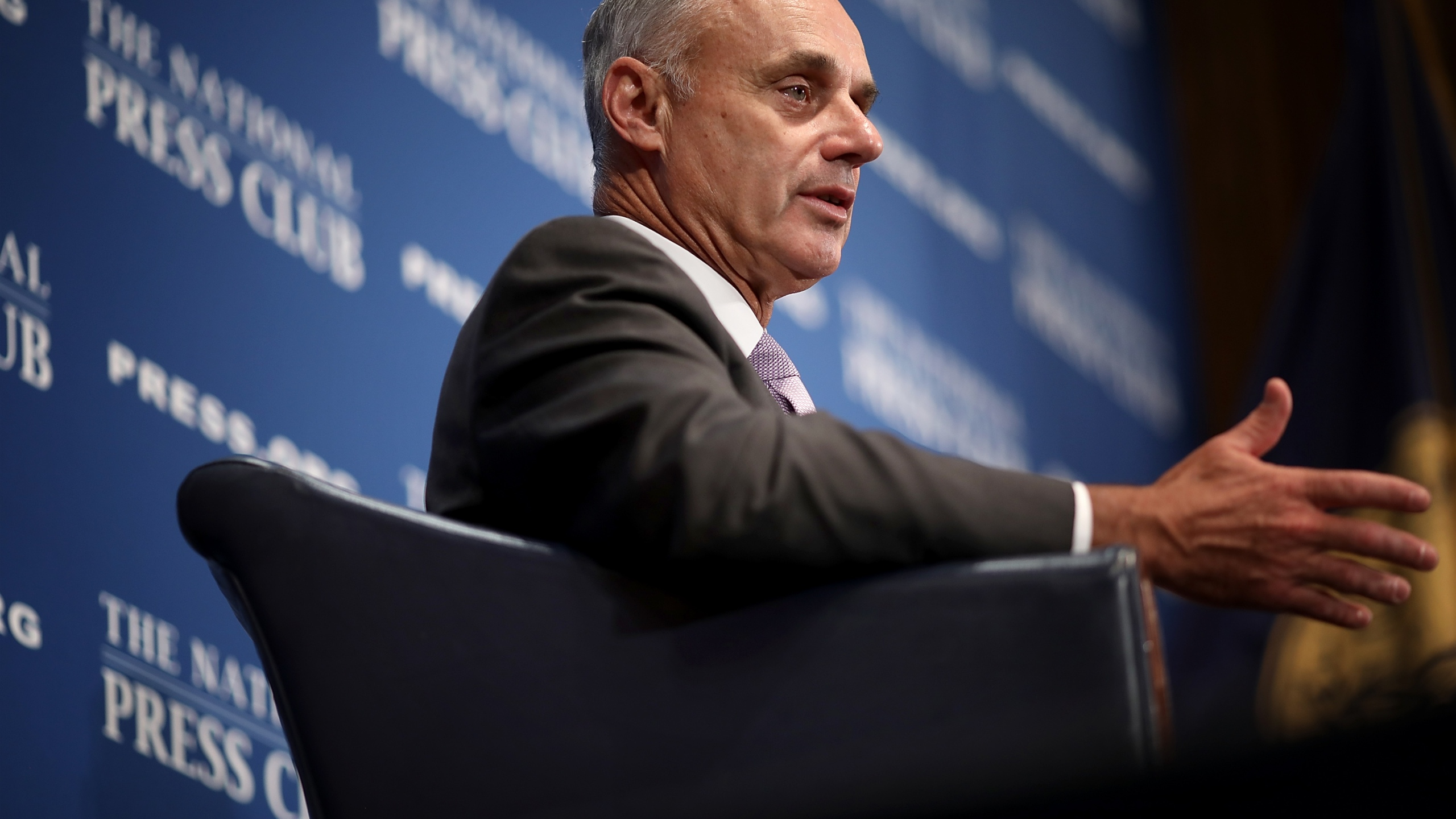 Major League Baseball Commissioner Rob Manfred speaks at the National Press Club July 16, 2018, in Washington, D.C.(Credit: Win McNamee/Getty Images)
