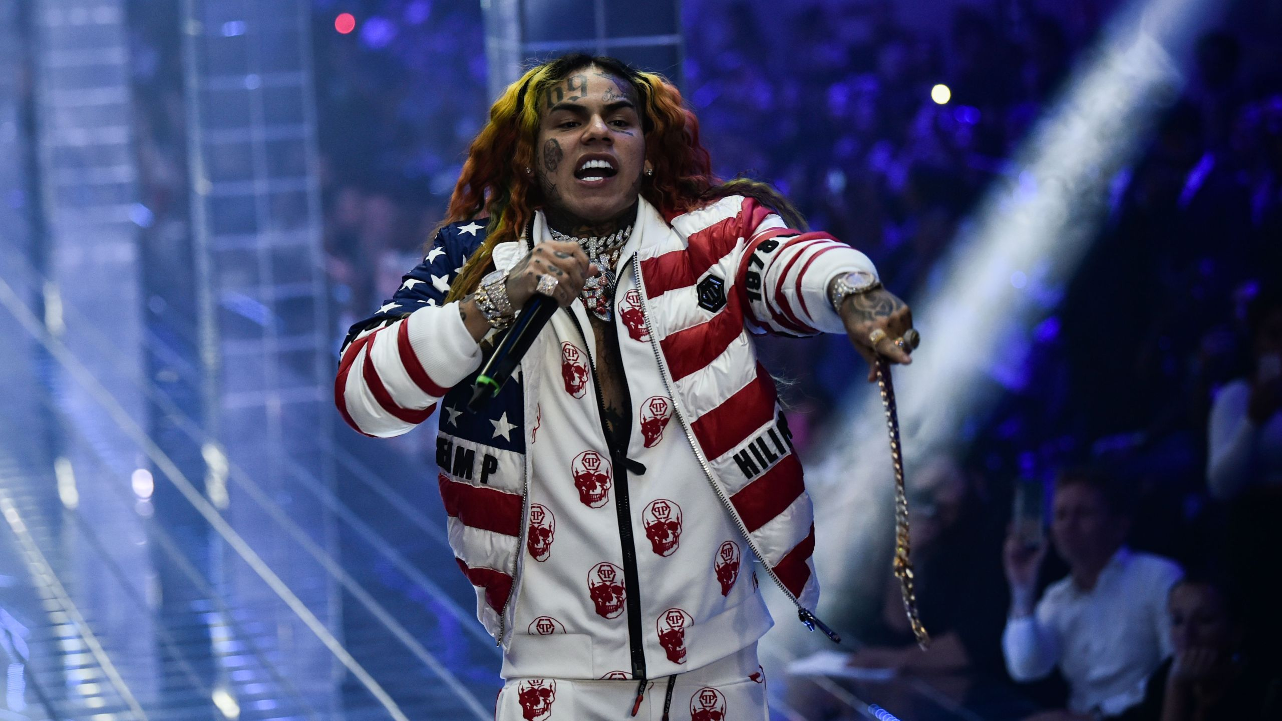 Tekashi 6ix9ine performs during the Philipp Plein fashion showw as part of the Women's Spring/Summer 2019 fashion week in Milan, on Sept. 21, 2018. (Credit: MARCO BERTORELLO/AFP via Getty Images)
