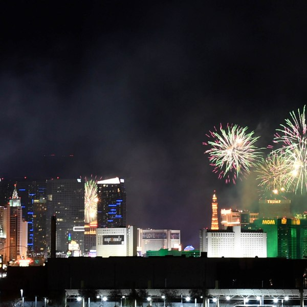 "Fireworks illuminate the skyline over the Las Vegas Strip during a pyrotechnics show put on by Fireworks by Grucci titled ""America's Party"" during a New Year's Eve celebration on Jan. 1, 2019 in Las Vegas. (Credit: Ethan Miller/Getty Images)"