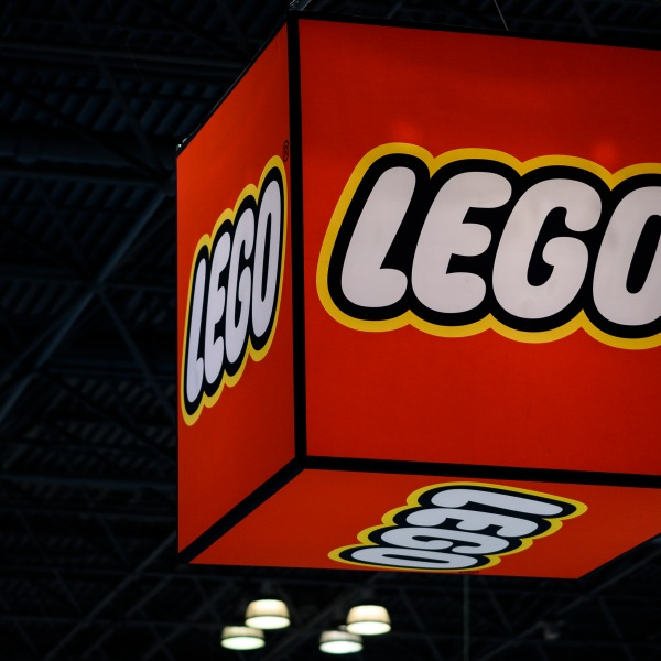 A Lego logo is pictured on February 16, 2019. (Credit: Johannes EISELE/Getty)