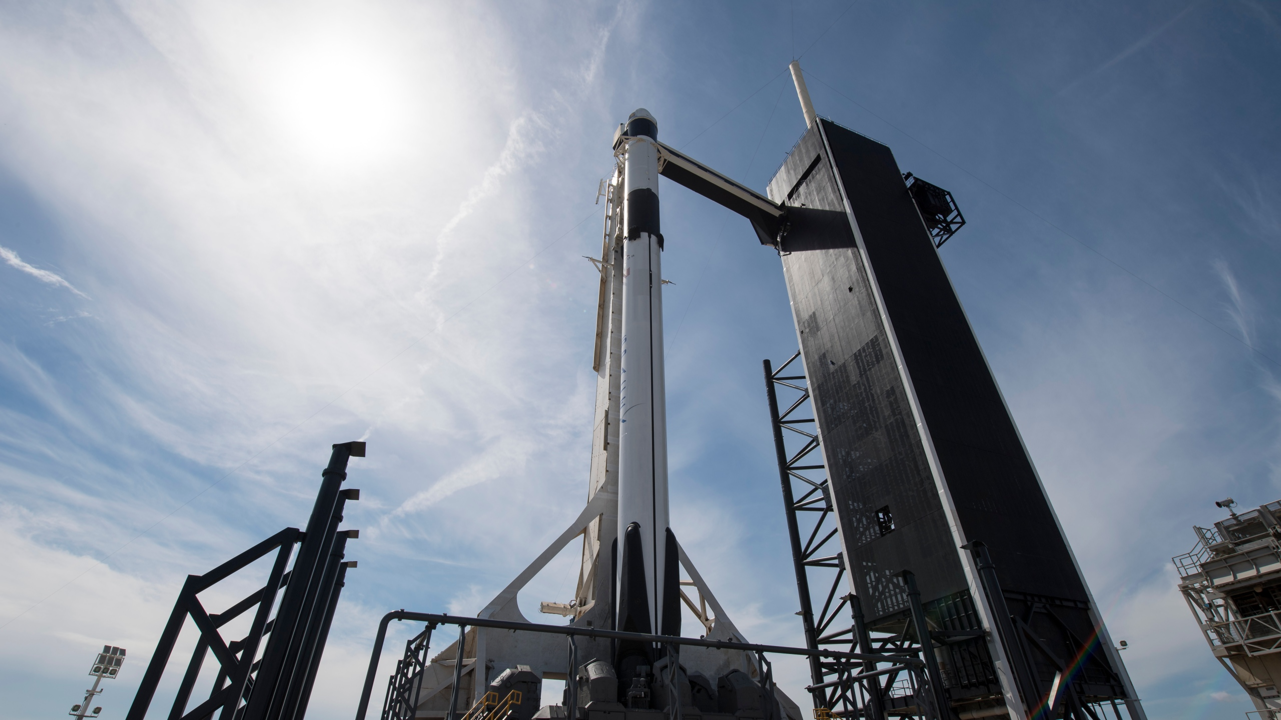 SpaceX Falcon 9 rocket with the company's Crew Dragon spacecraft onboard is seen on the launch pad on Friday, March 1, 2019 at the Kennedy Space Center in Florida. (Credit: Joel Kowsky/NASA via Getty Images)