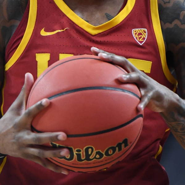A USC Trojans player holds the ball during a break in a quarterfinal game of the Pac-12 basketball tournament on March 14, 2019, in Las Vegas, Nevada. (Credit: Ethan Miller/Getty Images)