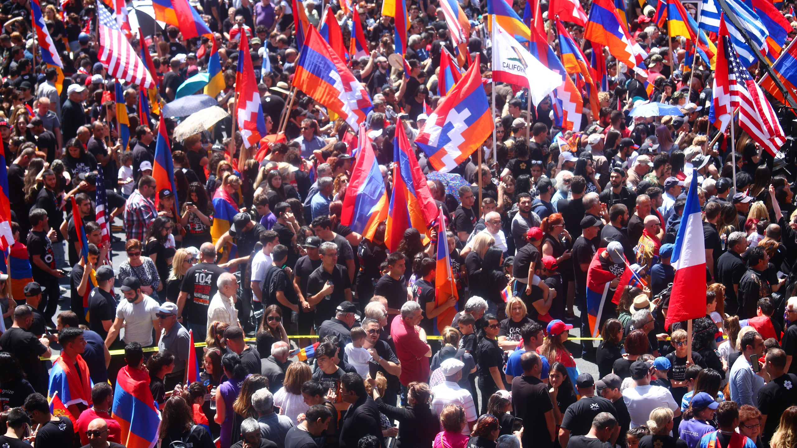 Armenians and supporters gather during a march and rally commemorating the 104th anniversary of the Armenian genocide on April 24, 2019, in Hollywood, California. (Mario Tama/Getty Images)