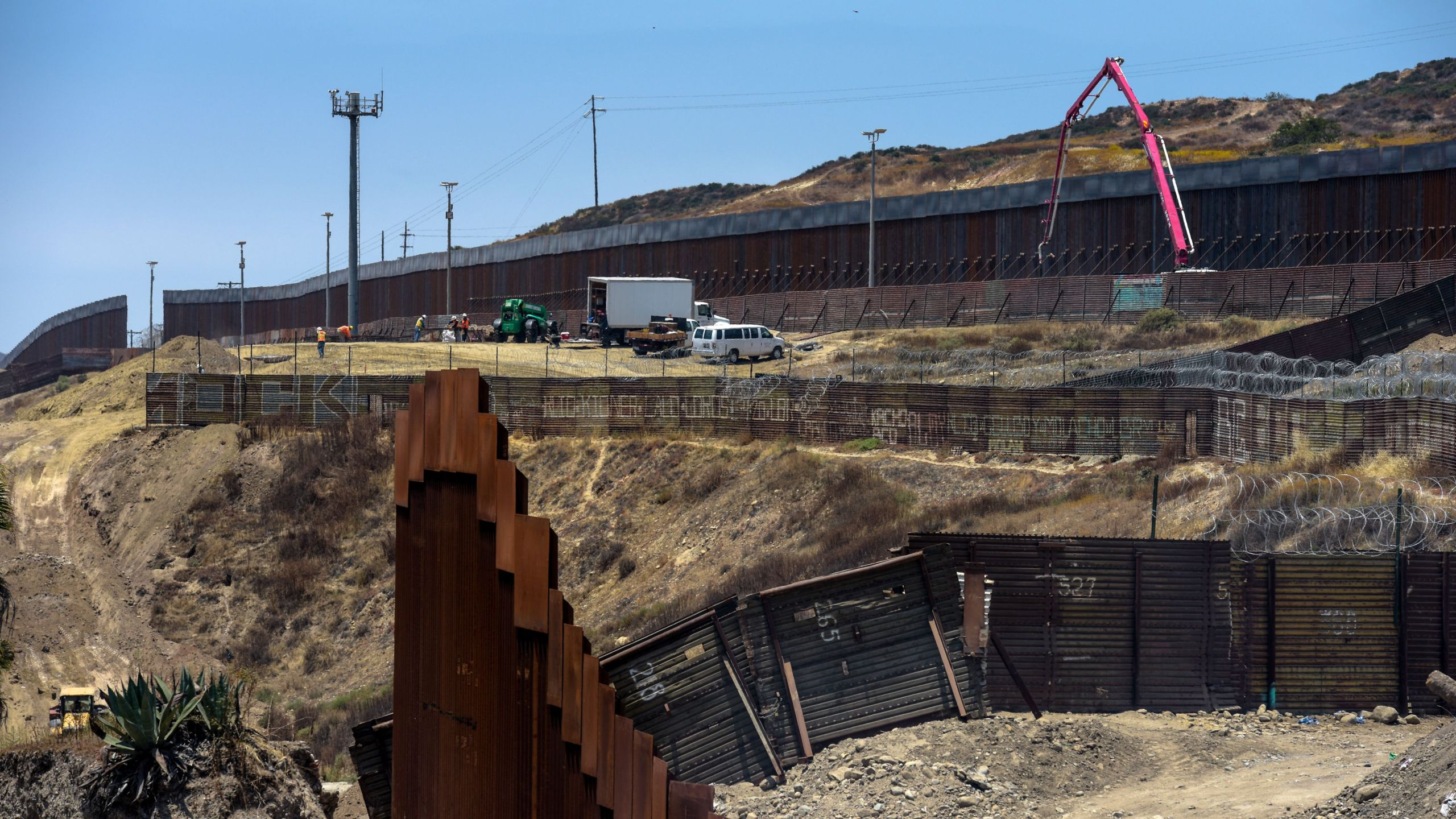 Construction is underway at a section of the Mexico-U.S. border wall in Tijuana on June 18, 2019. (Credit: Agustin Paullier / AFP / Getty Images)