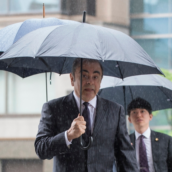 Former Nissan Motor Chairman Carlos Ghosn arrives for a pre-trial hearing at the Tokyo District Court in Tokyo on June 24, 2019. (Credit: KAZUHIRO NOGI/AFP via Getty Images)