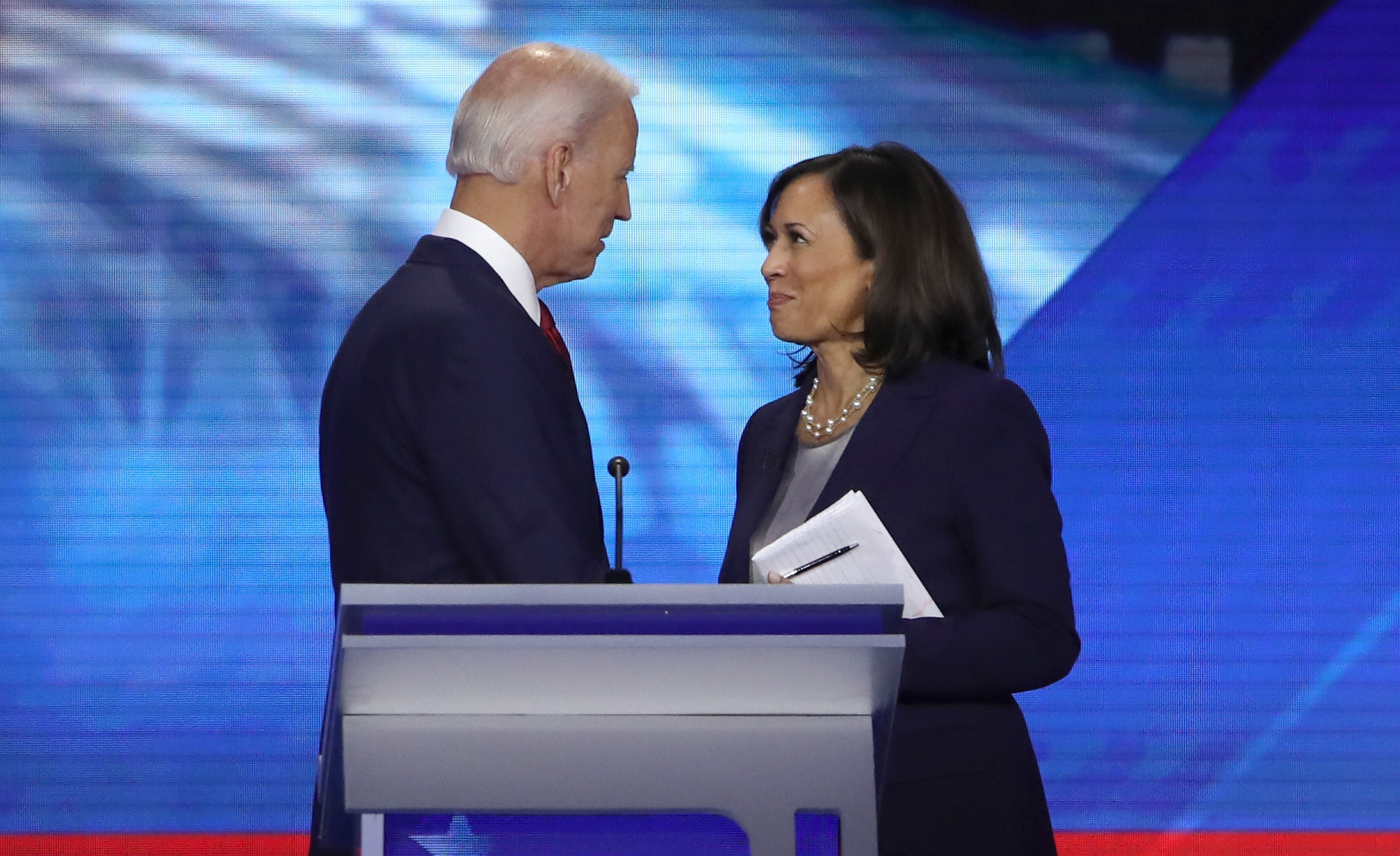 Joe Biden and Kamala Harris speak after the Democratic presidential debate at Texas Southern University on Sept. 12, 2019 in Houston. (Credit: Win McNamee/Getty Images)