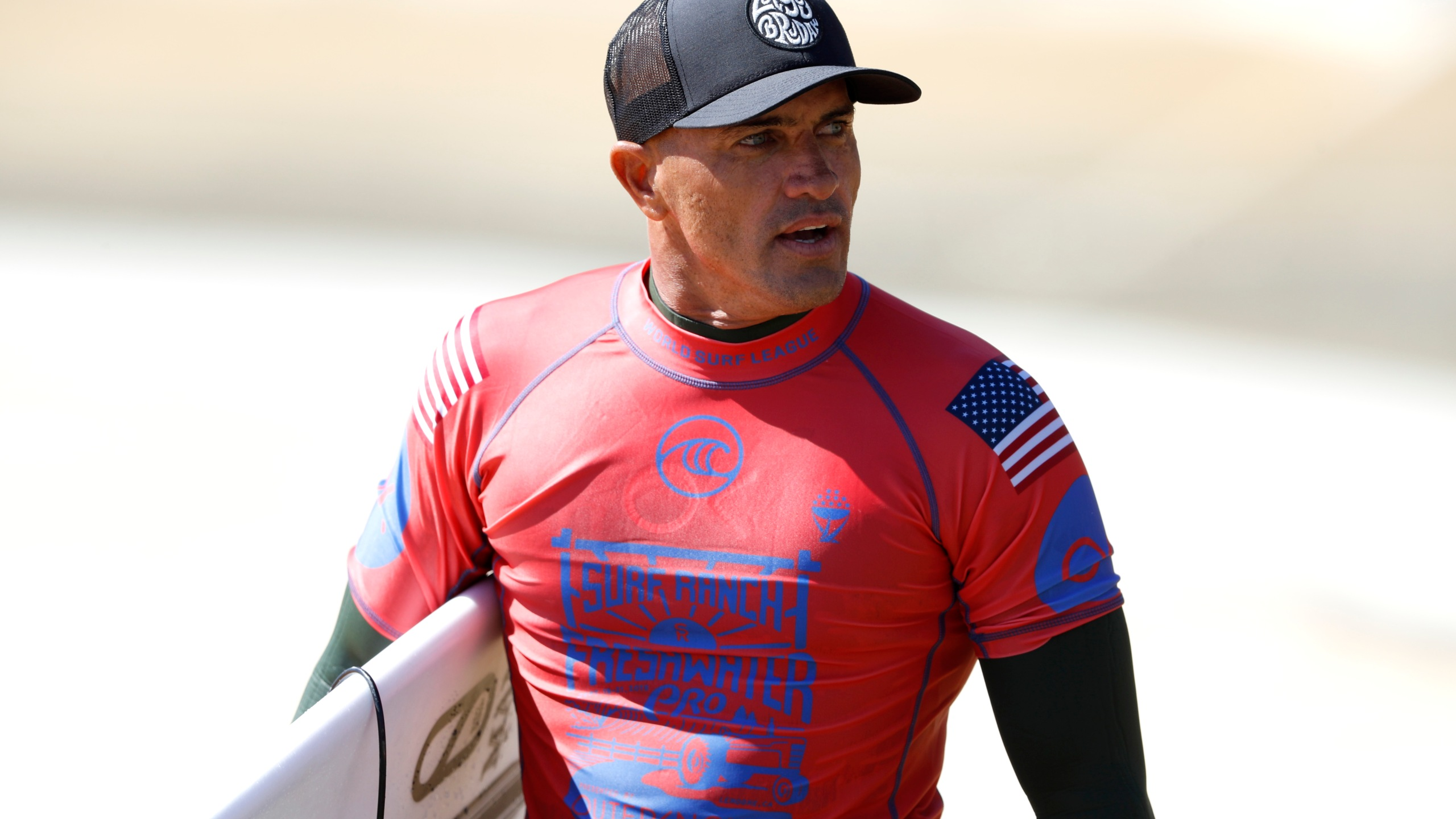 Kelly Slater of the United States looks on during the 2019 Freshwater Pro-WSL on September 21, 2019 in Lemoore, California. (Credit: Sean M. Haffey/Getty Images)