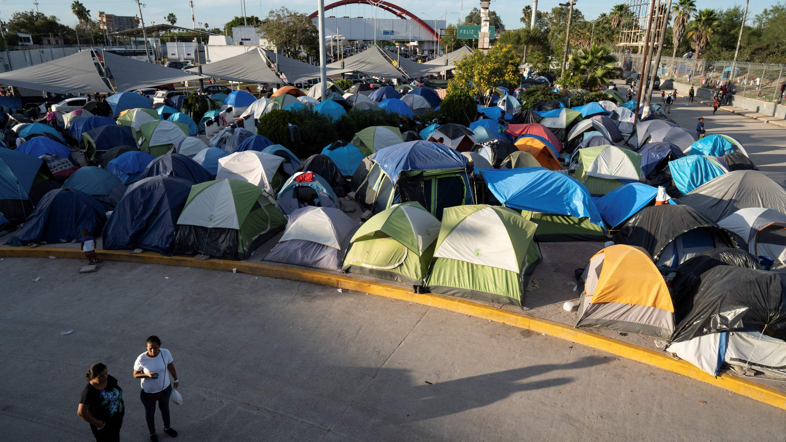 A migrants' camp on the U.S. border just south of the Rio Grande in Matamoros, Mexico, is seen on Nov. 1, 2019. (Credit: Lexie Harrison-Cripps / AFP / Getty Images)