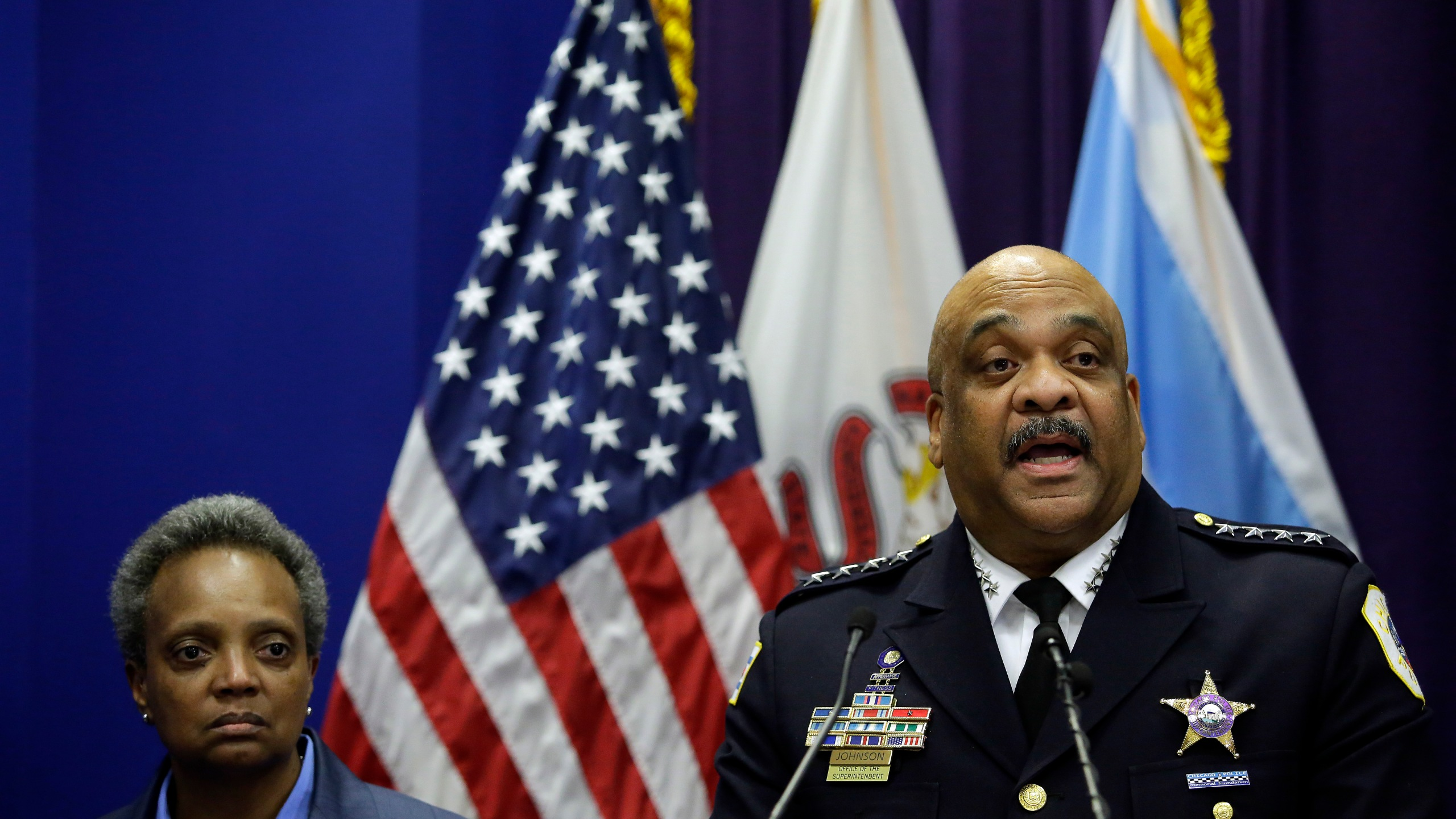 Chicago Police Department Superintendent Eddie Johnson announces his retirement during a news conference with Mayor Lori Lightfoot at the Chicago Police Department's headquarters on Nov. 7, 2019. (Credit: Joshua Lott/Getty Images)