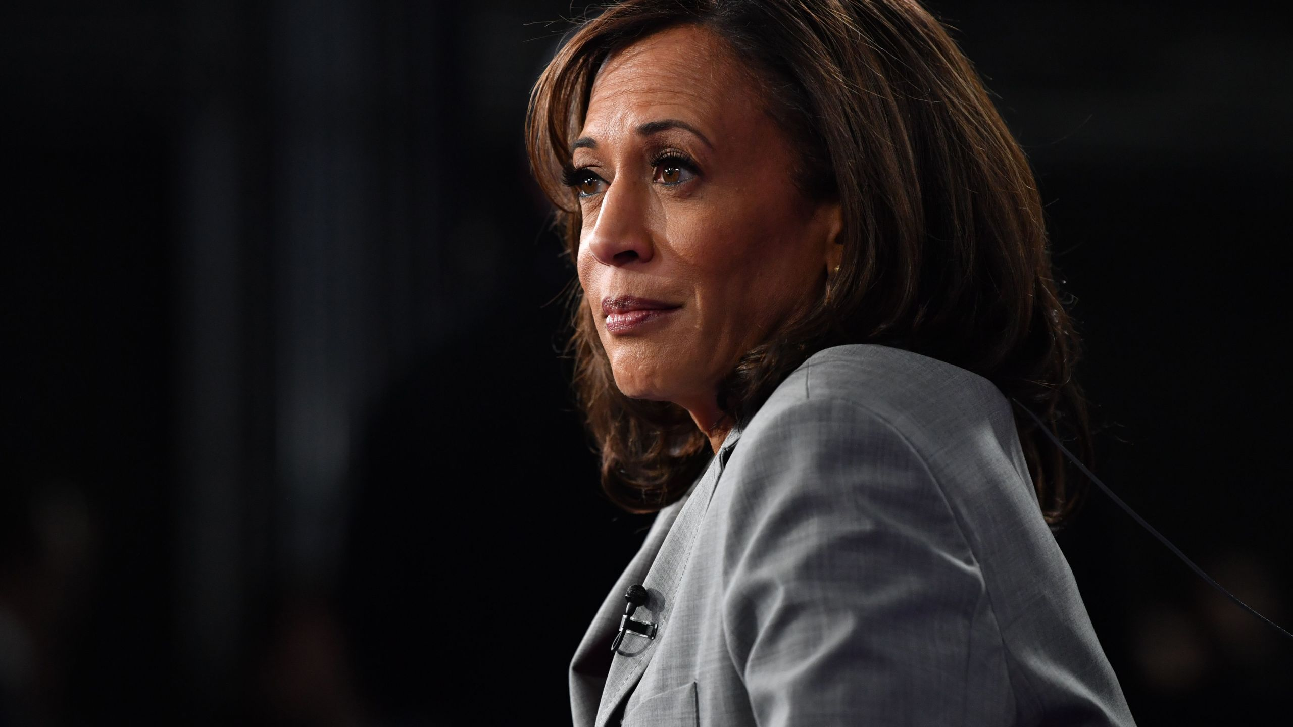 California Senator Kamala Harris speaks to the press after participating in the fifth Democratic primary debate of the 2020 presidential campaign in Atlanta, Georgia on Nov. 20, 2019. (Nicholas Kamm/AFP via Getty Images)